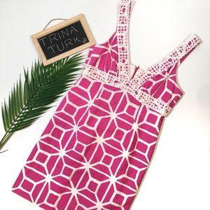 Trina Turk Dress Pink Crochet White Lace 10
